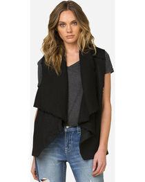 Miss Me Women's Black Side Print Vest , , hi-res