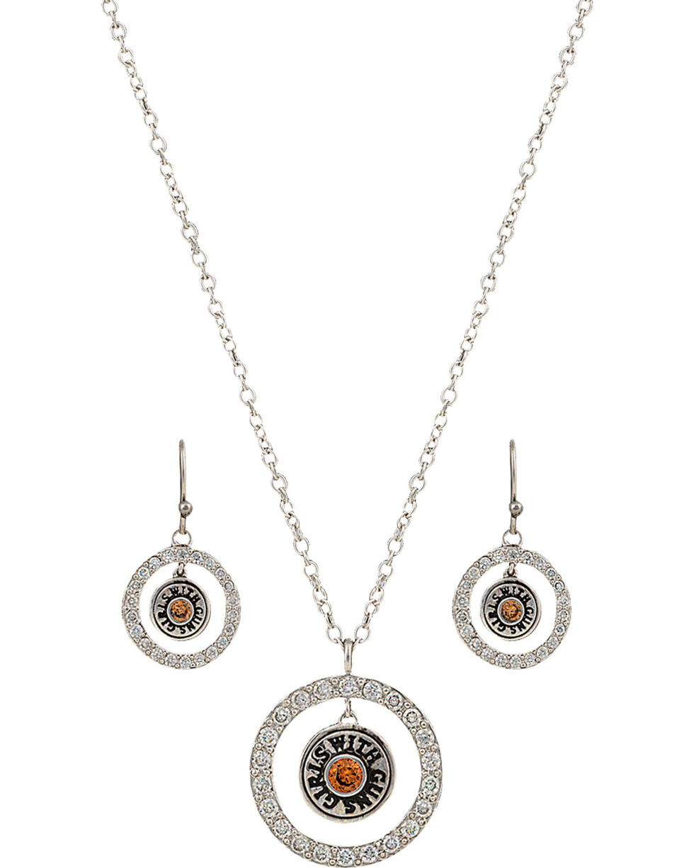 Girls With Guns Encircled Back of the Bullet Charm Jewelry Set, Silver, hi-res