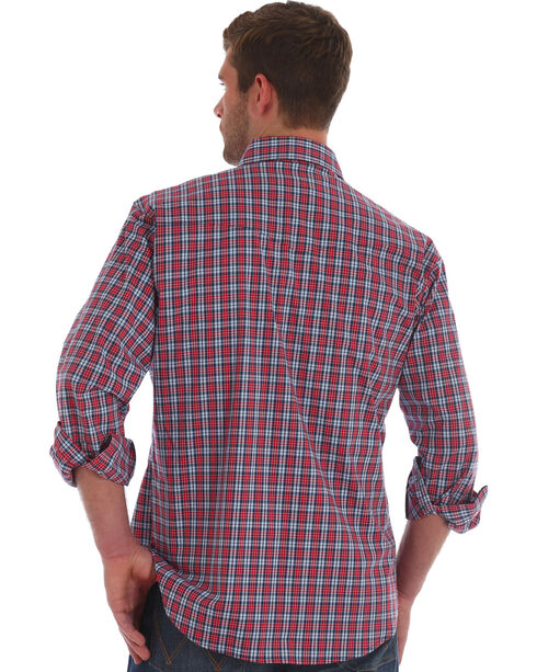 Wrangler Men's Red Wrinkle Resistant Plaid Shirt , Red, hi-res