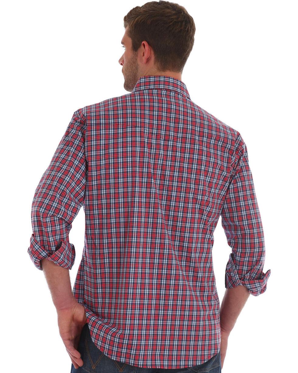 Wrangler Men's Red Wrinkle Resistant Plaid Shirt , Red, hi-res