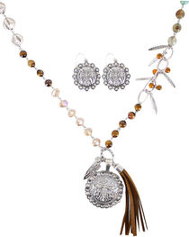 Shyanne® Women's Cross Pendant Fringe Jewelry Set, Brown, hi-res