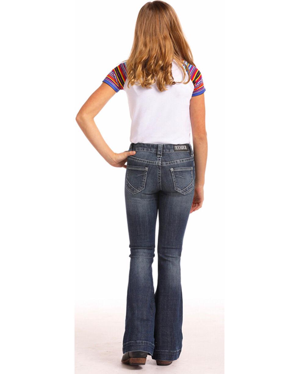 Rock & Roll Cowgirl Girls' Basic Stitch Trouser Jeans (4-16), Indigo, hi-res