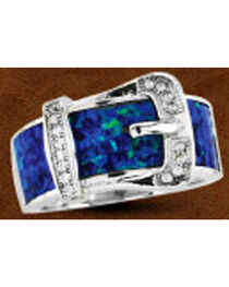 Kelly Herd Sterling Silver Opal Buckle Ring , , hi-res