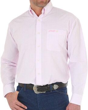 Wrangler Men's Tough Enough To Wear Pink Check Long Sleeve Shirt, Pink, hi-res