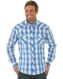 Wrangler Men's Blue Western Fashion Snap Long Sleeve Plaid Shirt , , hi-res