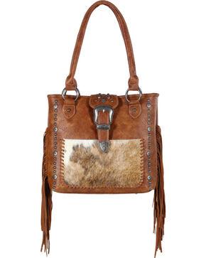 Shyanne® Women's Fur and Fringe Shoulder Bag, Brown, hi-res