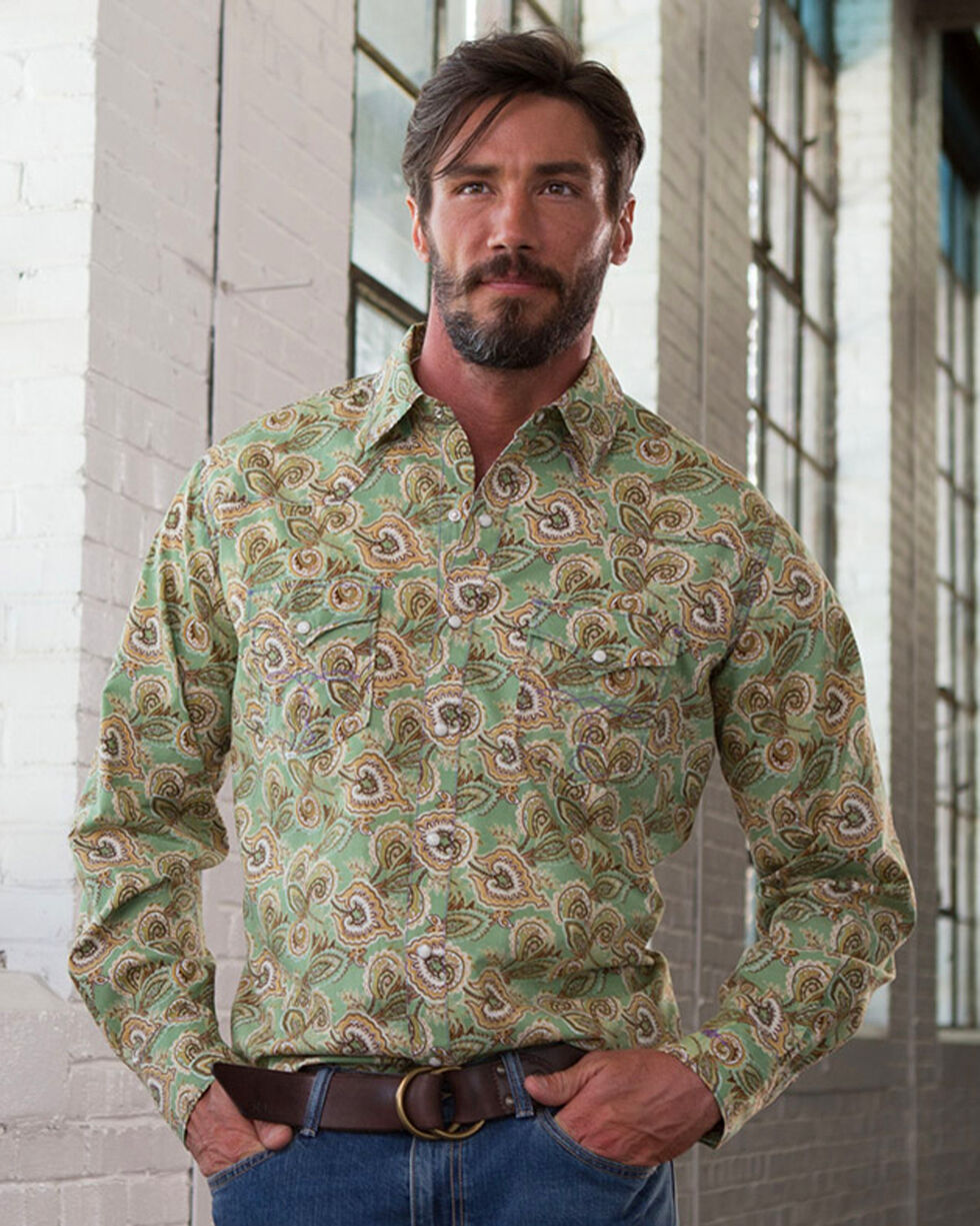 Ryan Michael Men's Spruce Paisley Print Shirt , Green, hi-res