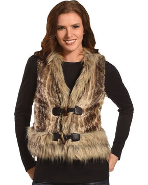 Powder River Outfitters Women's Brown Fur Edge Vest , Camel, hi-res