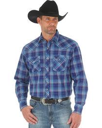Wrangler 20X Men's Blue Red Competition Advanced Comfort Snap Shirt - Big & Tall, , hi-res