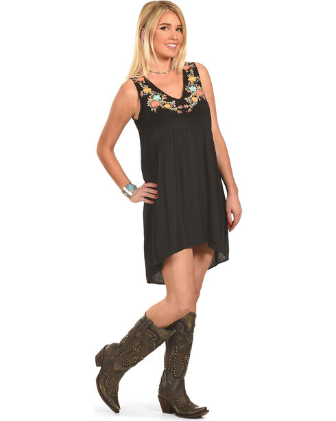 Polagram Women's Sleeveless High-Low Embroidered Mini Dress, Black, hi-res