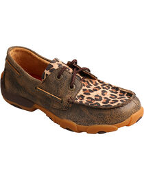 Twisted X Kids' Leopard Printed Moccasins, , hi-res