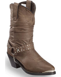 Shyanne Women's Slouch Harness Fashion Boots, Dark Brown, hi-res
