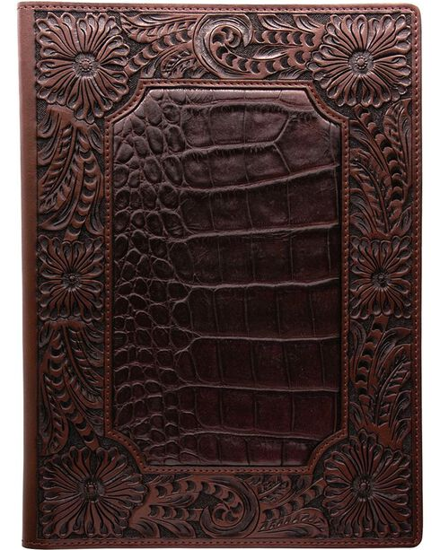 3D Leather Gator Print with Floral Tooling Pad Holder, Brown, hi-res