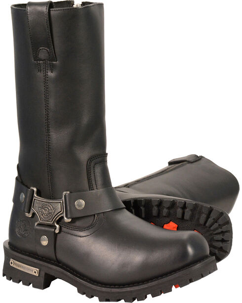"Milwaukee Leather Men's 11"" Classic Harness Boots - Square Toe - Wide, Black, hi-res"