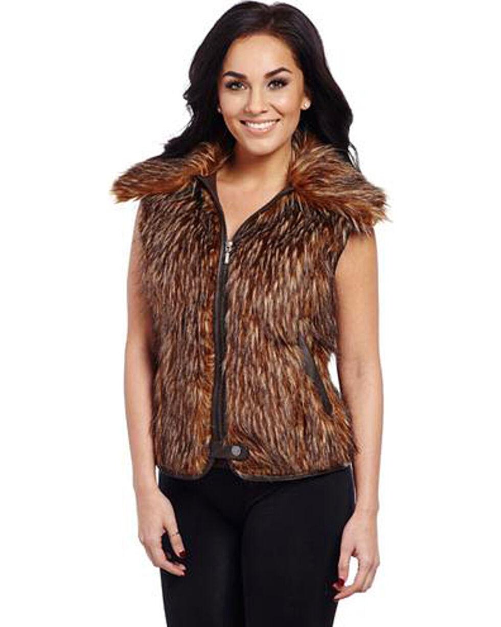 Cripple Creek Women's Faux Fur Vest, Brown, hi-res