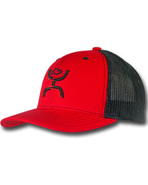 Hooey Men's Chi Six Panel Trucker Cap, Red, hi-res