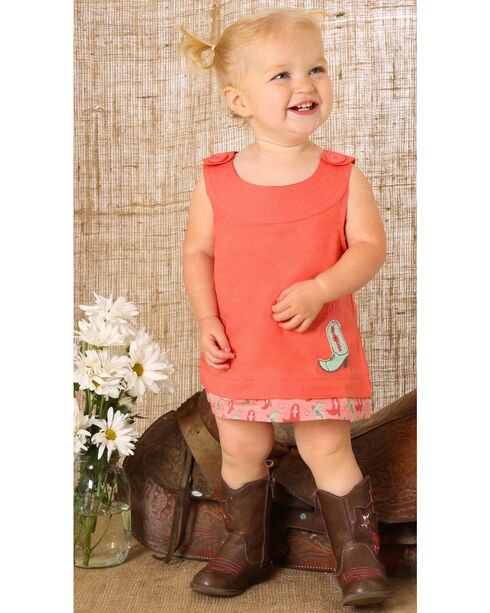Wrangler Girls' Romper With Printed Bloomer Set, Red, hi-res