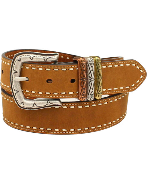 Ariat Women's Lace Edge Smooth Belt , Brown, hi-res