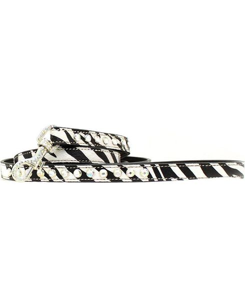 Blazin Roxx Zebra Print Leash, Zebra, hi-res