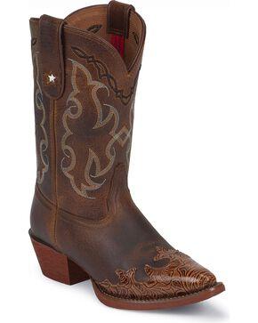 Tony Lama Kid's 100% Vaquero Wing Tip Snip Toe Western Boots, Tan, hi-res