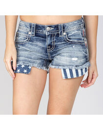 Miss Me Women's Americana Trim Denim Shorts, , hi-res