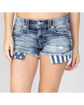 Miss Me Women's Americana Trim Denim Shorts, Indigo, hi-res