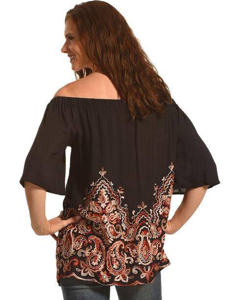 Miss Me Women's Paisley Printed Off The Shoulder Top, Black, hi-res