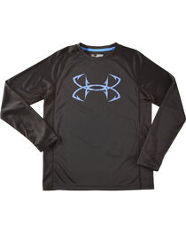 Under Armour Boys' Black Fish Hunter Tech Long Sleeve Shirt , , hi-res