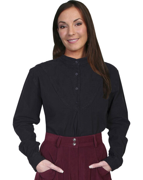 Rangewear by Scully Cotton Embroidered Long Sleeve Top, Black, hi-res