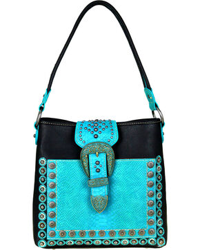 Montana West Women's Buckle Concealed Carry Hobo Purse , Black, hi-res