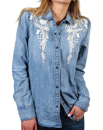 Drift Wood Women's Floral Embroidery Chambray Shirt, , hi-res