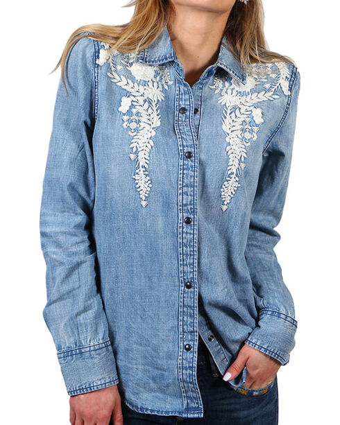 Drift Wood Women's Floral Embroidery Chambray Shirt, Light/pastel Blue, hi-res