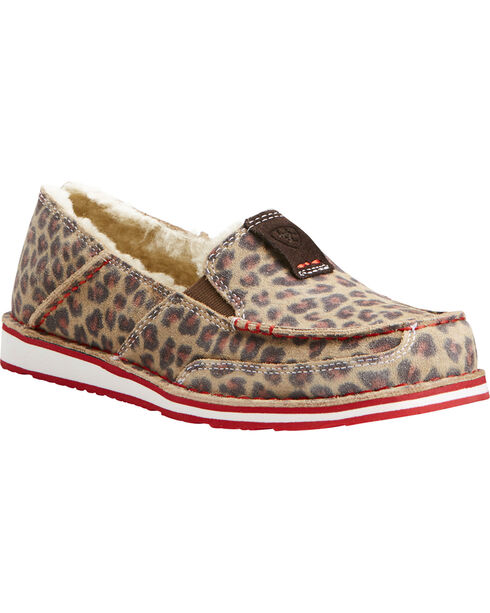 Ariat Women's Fleece Cheetah Cruiser Shoes - Moc Toe, Cheetah, hi-res