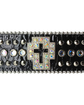 Shyanne® Women's Rhinestone Cross and Gator Print Snap Bracelet, Black, hi-res