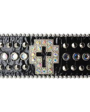 Shyanne® Women's Rhinestone Cross and Gator Print Snap Bracelet, Black, hi-res