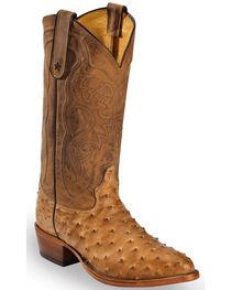 Tony Lama Antique Tan Full Quill Ostrich Cowboy Boot - Medium Toe, , hi-res