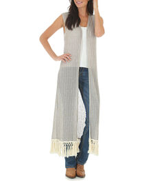Wrangler Women's Sleeveless Crocheted Trim Fashion Duster, Tan, hi-res