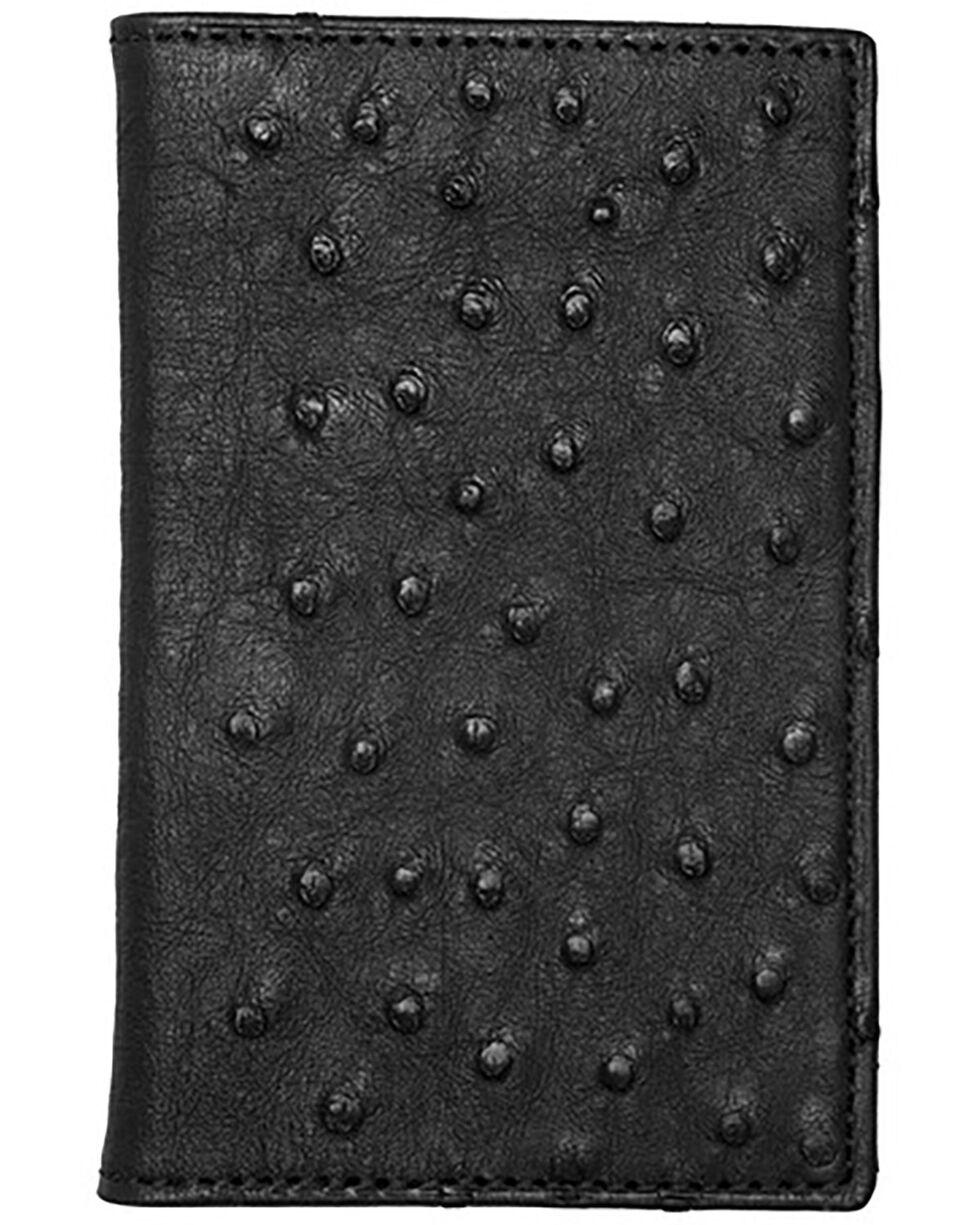 Lucchese Men's Black Ostrich BiFold Wallet , Black, hi-res