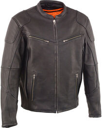 Milwaukee Leather Men's Black Cool Tec Leather Scooter Jacket - Big 5X, , hi-res