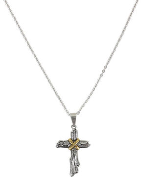 Moonshine Spirit® Roped Wood Cross Necklace, Silver, hi-res