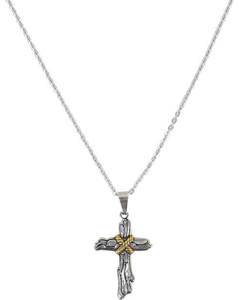 Moonshine Spirit® Roped Wood Cross Necklace, Silver, hi-res