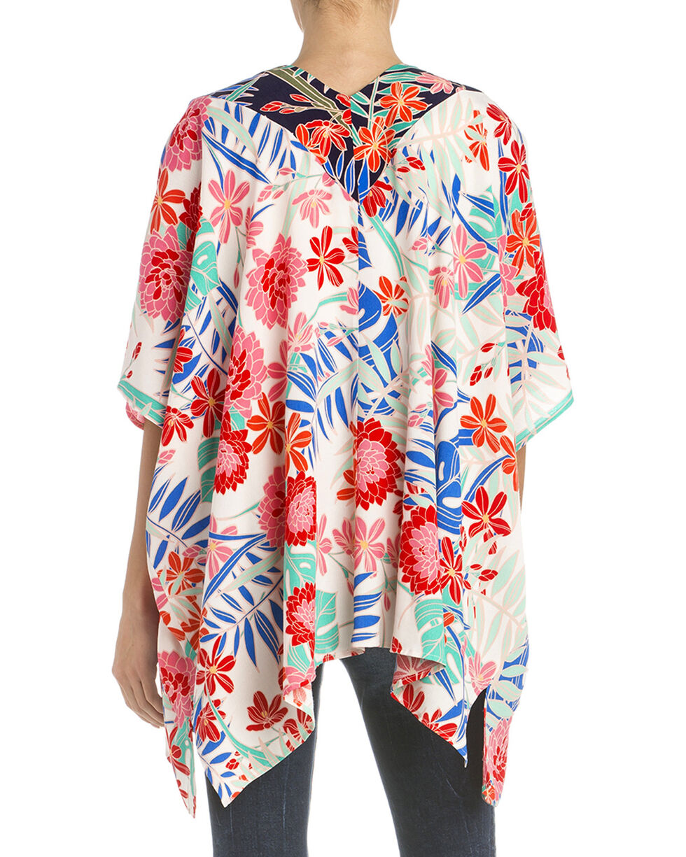 Miss Me Women's Floral Print Kimono, White, hi-res