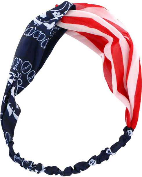 Shyanne® Women's Americana Mix Pattern Headband, Red/white/blue, hi-res