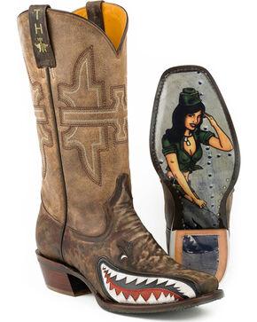 Tin Haul Men's Sharky Western Boots, Green, hi-res