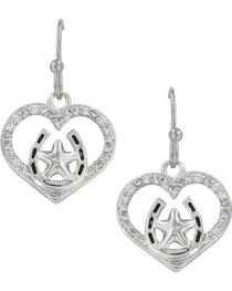 Montana Silversmiths Women's Star Of My Heart Horseshoe Earrings , , hi-res