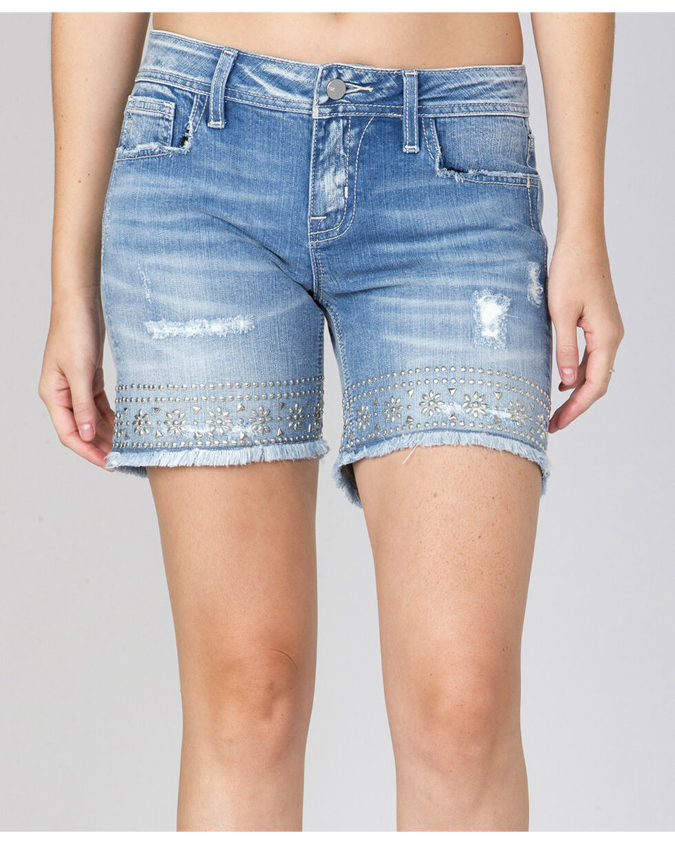 Miss Me Women's Day Glow Mid-Thigh Shorts, Indigo, hi-res
