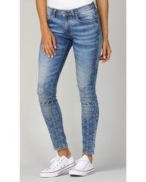 MM Vintage Women's Indigo Embroidered Jeans - Skinny , , hi-res