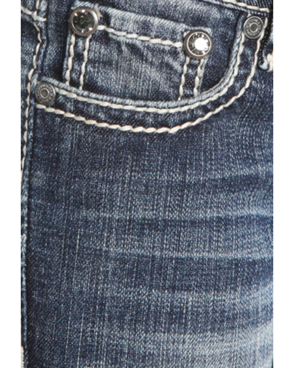 Rock & Roll Cowgirl Girls' Diamond Stitched Jeans - Boot Cut , Indigo, hi-res