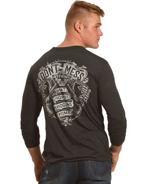 Cody James Men's Don't Mess Long Sleeve Graphic Tee, Black, hi-res