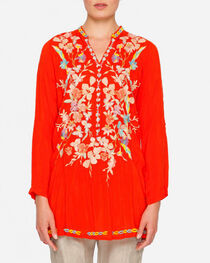 Johnny Was Women's Long Sleeve Nikki Tunic , Coral, hi-res